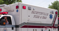 Ambulance and Fire trucks in Firemans Parade 2014 4k Stock Footage