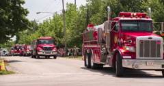 Rescue vehicles in 2014 Fayetteville Firemans parade 4k Stock Footage