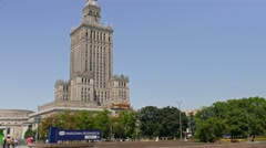 Warsaw downtown and Palace of Culture and Science Stock Footage