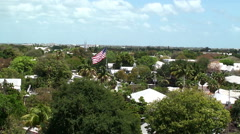Key West Old Town with the big US Flag from the top of lighthouse. Stock Footage