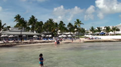 Vacationers people at South beach Key West. Florida Stock Footage