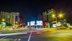 Time Lapse - Traffic and Passenger at Road Intersection at Night Stock Footage