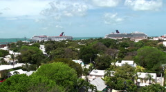 Key West Old Town with the seaport from the top of lighthouse. Stock Footage