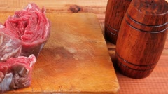 Savory: bloody beef fillet Stock Footage