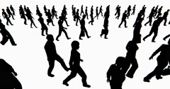 4k Crowd Of People walking,businessman silhouette. Stock Footage