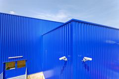Blue aluminum facade - stock photo