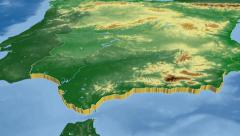 Andalucia - Spain autonomous community extruded. Bumps shaded. - stock footage