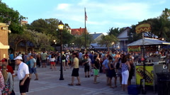Fastfood carts at the Sunset Celebration on Mallory Square in Key West Old Town Stock Footage