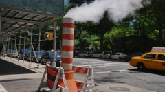 Con Edison Steam Pipe in Manhattan Street Stock Footage