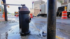 Fire Hydrant is Flushed Stock Footage