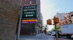 Queens Midtown Tunnel Entrance Establishing Shot Stock Footage