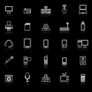 Gadget line icons with reflect on black - stock illustration