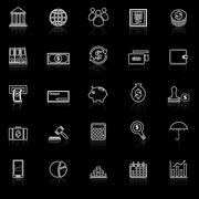 Banking line icons with reflect on black - stock illustration