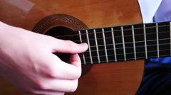 Young Man Playing A Guitar Solo - stock footage