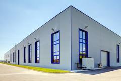 Aluminum facade on industrial building - stock photo