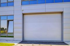 Aluminum facade on industrial building - stock photo