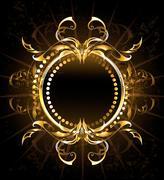 Golden Tribal Frame - stock illustration
