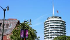 4K, UHD, Capitol Records and American Flag in Hollywood, Los Angeles, California Stock Footage