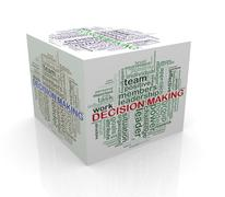 Stock Illustration of 3d cube word tags wordcloud of decision making