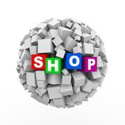 3d cubes boxes sphere ball - shop Stock Illustration