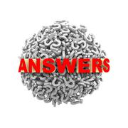 3d answers question mark sphere ball Stock Illustration
