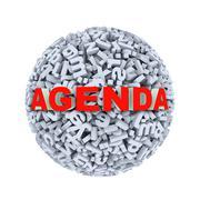 3d agenda - alphabet letter character sphere ball - stock illustration
