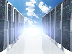 3d rows network servers datacenter on sky cloud background Stock Illustration