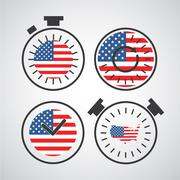 Stock Illustration of american flag in clock for independence day time