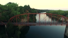 Dron flying on top of the bridge Stock Footage