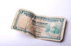 Stock Photo of Old Banknote from Albania