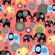 Valentine pattern of elephants Stock Illustration