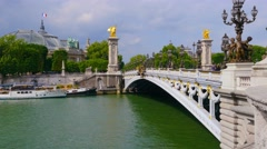 PARIS, FRANCE - CIRCA MAY 2015: Bridge of Alexander III view. Stock Footage