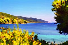 Alonissos Bay - painting effect Stock Illustration