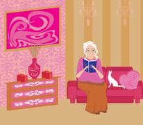 Senior woman in living room reading a book Stock Illustration