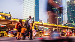 People Crossing Street. Crowded City Streets. Traffic Night Lights Stock Footage
