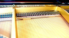Inside the grand piano Stock Footage