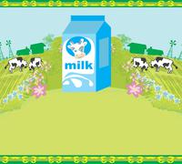 Stock Illustration of Abstract poster with a carton of milk and cows graze in the meadow
