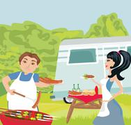Stock Illustration of couple outdoor grilling meat