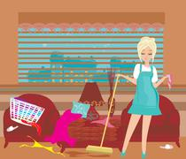Housewife cleans up the mess Stock Illustration