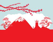 card with Asian buildings and Mount Fuji. Fujiyama - stock illustration
