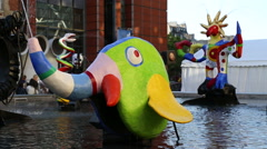 Stravinsky Fountain at The Centre Pompidou Stock Footage
