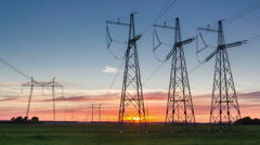 Power line on the background of the setting sun 02 Stock Footage