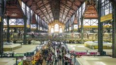 Public marketplace in industrial interior Stock Footage