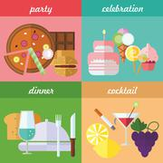 Festive eating - stock illustration
