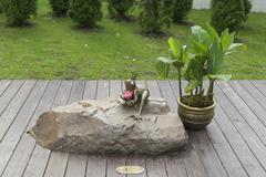 A bronze statuette of Princess Frog, sitting on a boulder in the park Stock Photos