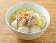 Thai Cuisine and Food, A Bowl of Lettuce with Minced Pork and Fish Meat Ball - stock photo