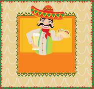 Stock Illustration of Mexican man holding a cold beer and a taco