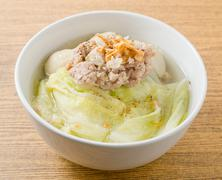 Thai Cuisine and Food, Bowl of Lettuce with Minced Pork and Fish Meat Ball So - stock photo