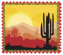 Desert wild nature landscape with cactus Stock Illustration