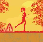 Jogging girl in sunset - stock illustration
